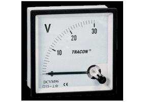 Tracon Analóg egyenáramú voltmérő 72×72mm, 30V DC DCVM72-30