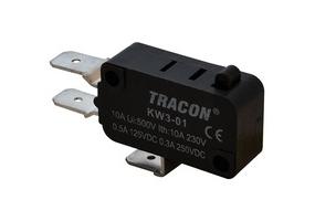 Tracon Helyzetkapcsoló (végálláskapcsoló) mikro, ütközős  16(4)A / 250V AC, 6,3x0,8 mm, IP00 KW3-01