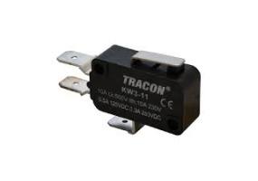 Tracon Helyzetkapcsoló (végálláskapcsoló) mikro, rugószáras  16(4)A / 250V AC, 15mm, 6,3x0,8 mm, IP00 KW3-11