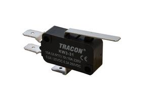 Tracon Helyzetkapcsoló (végálláskapcsoló) mikro, rugószáras  16(4)A / 250V AC, 28mm, 6,3x0,8 mm, IP00 KW3-31