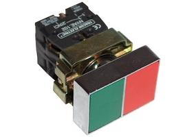 Tracon Kettős BE-KI nyomógomb, fémalapra szerelt, zöld+piros 1×NC+1×NO, 3A/400V AC, IP42 NYKK8325