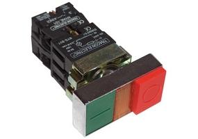 Tracon Kettős BE-KI nyomógomb, fémalap, zöld+piros jelzőfény kiálló 1×NC+1×NO, 3A/400V AC, IP42 NYKK8465