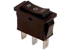 Tracon Készülékkapcsoló, háromállású, fekete (I-0-II felirat) 16(6)A, 250V AC TES-12