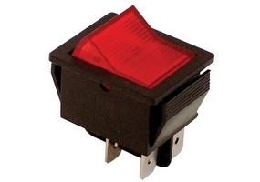 Tracon Készülékkapcsoló, BE-KI, 2-pólus, piros, világító raszter 16(6)A, 250V AC TES-41