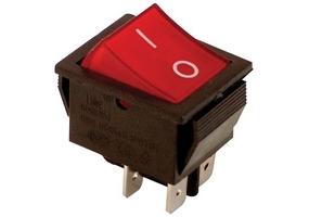Tracon Készülékkapcs., BE-KI, 2-pólus, piros, 0-I felirat, világító 16(6)A, 250V AC TES-42