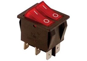 Tracon Készülékkapcsoló, BE-KI, 2-áramkör, piros, 0-I felirattal 16(6)A, 250V AC TES-43